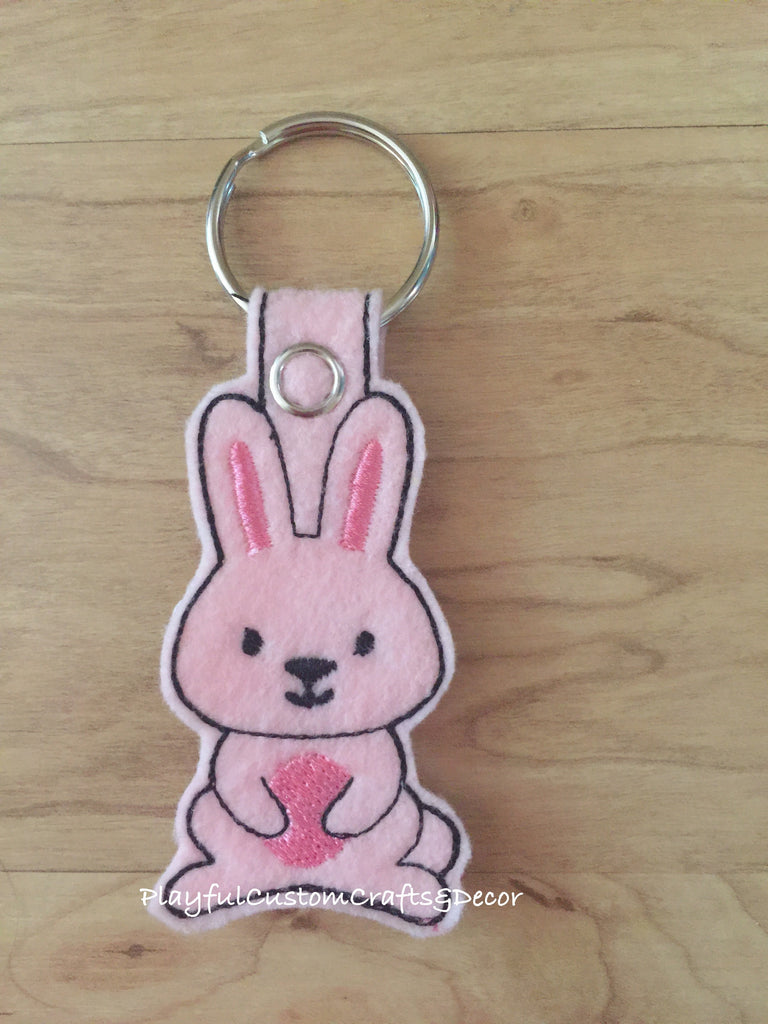 Handmade Embroidered Pink Felt Bunny Key Chain