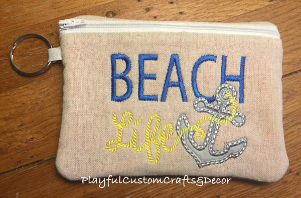 """Beach Life"" Embroidered Lined Zipper Pouch"