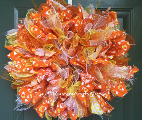 """Candy Cane"" Halloween Wreath"