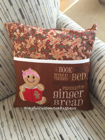 Gingerbread Girl, Brown Pocket, Decorative Reading Pillow Case