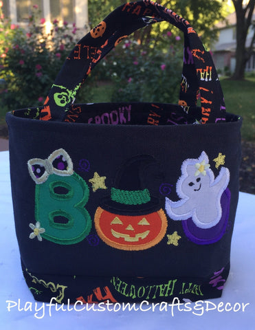 "Halloween Theme Appliqué ""BOO""  Black Small Tote"