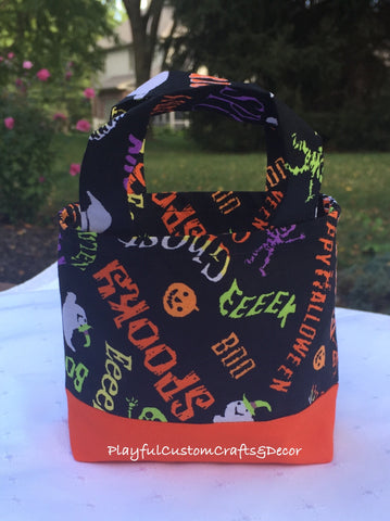 Halloween Theme Orange & Black Tiny Tote