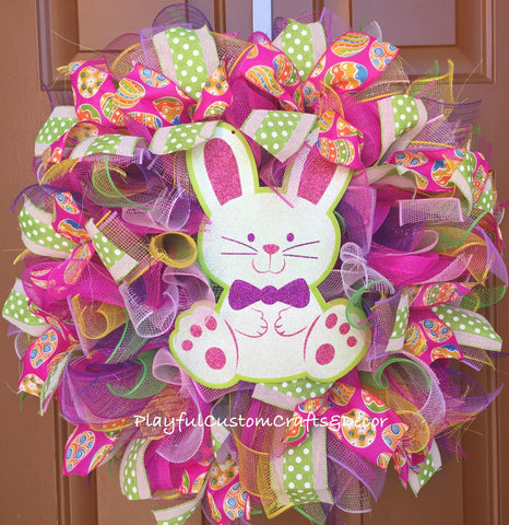 Pink and Green Easter Bunny Wreath