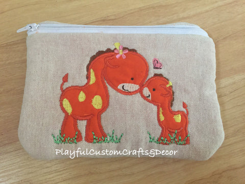 """Momma & Baby Giraffe"" Applique Handmade Lined Zipper Pouch"