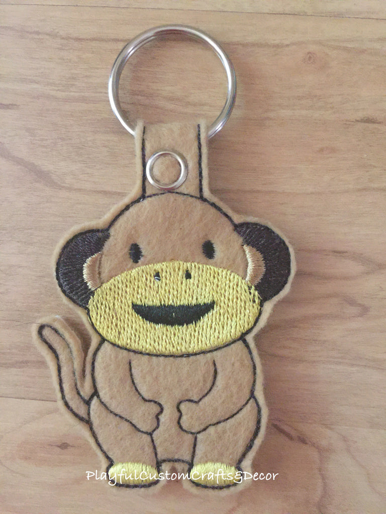 Handmade Embroidered Tan Felt Monkey Key Chain