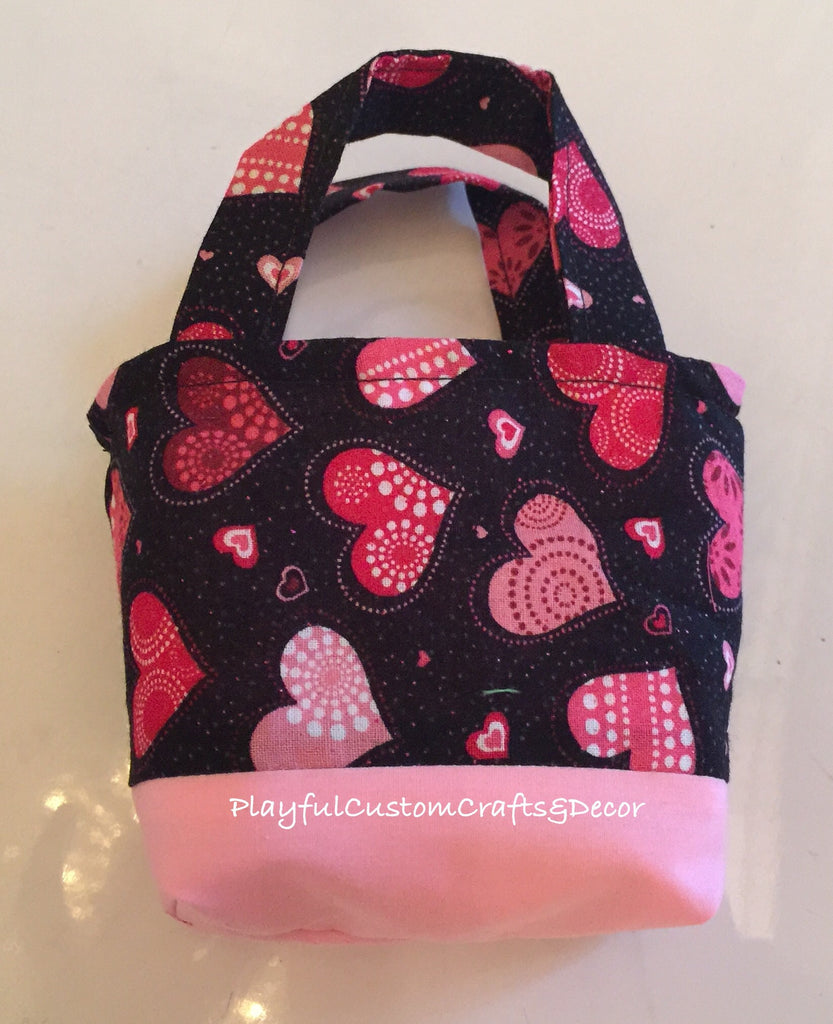 Pink & Black Hearts Valentine Tiny Tote Bag