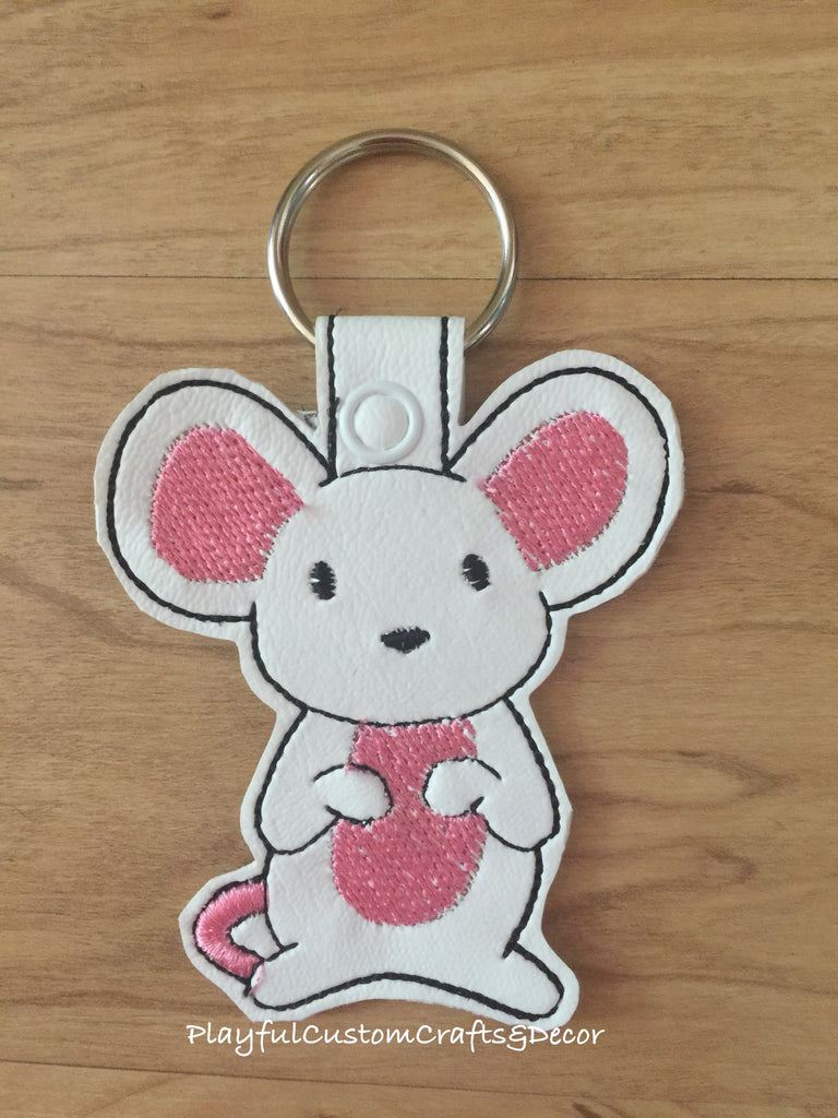 Handmade Embroidered Vinyl White Mouse Key Chain
