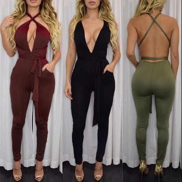 Cross Bandage Jumpsuit
