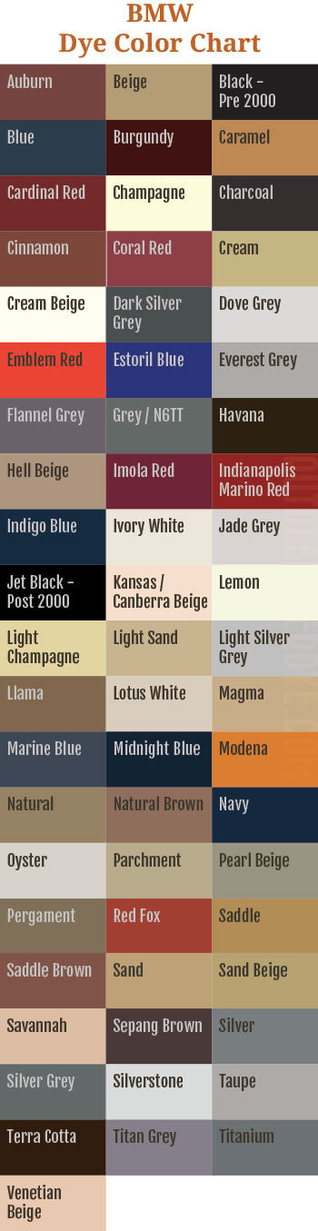 BMW Leather Dye Color Chart
