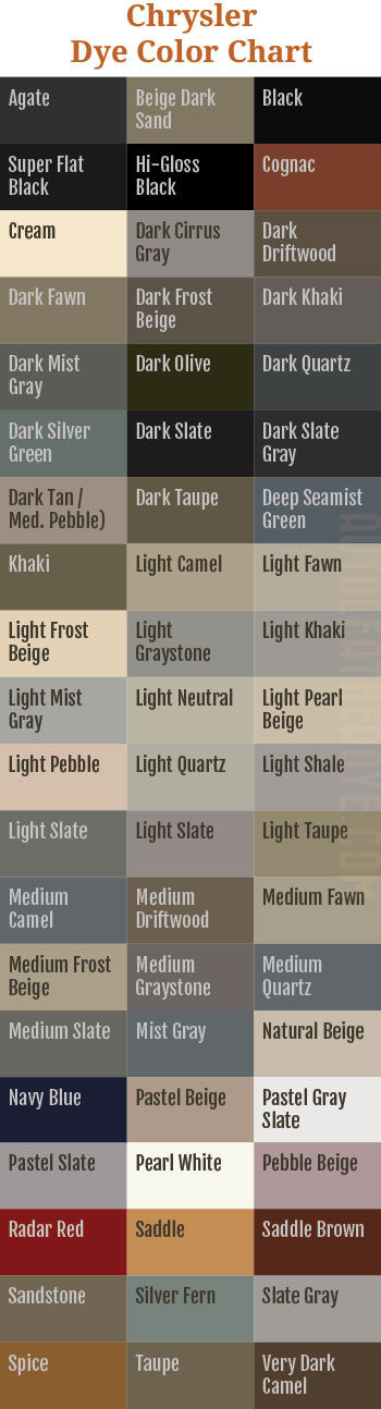 Chrysler Leather Dye Color Chart
