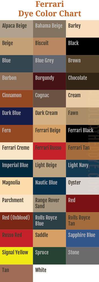 Ferrari Leather Dye Color Chart