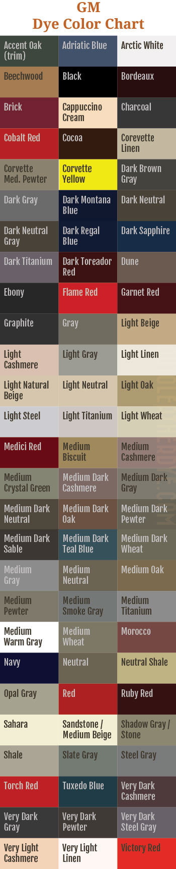 GM Leather Dye Color Chart