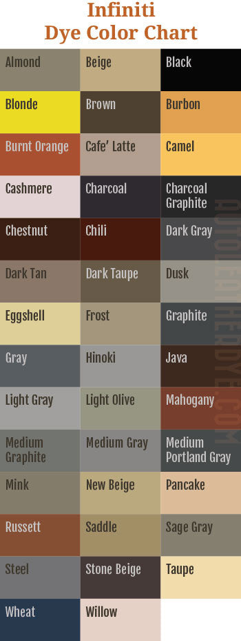 Infiniti Leather Dye Color Chart