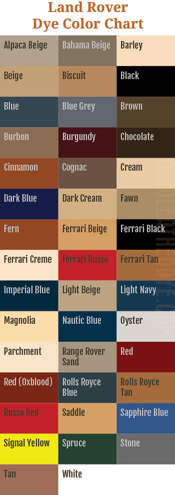 Land Rover Leather Dye Color Chart