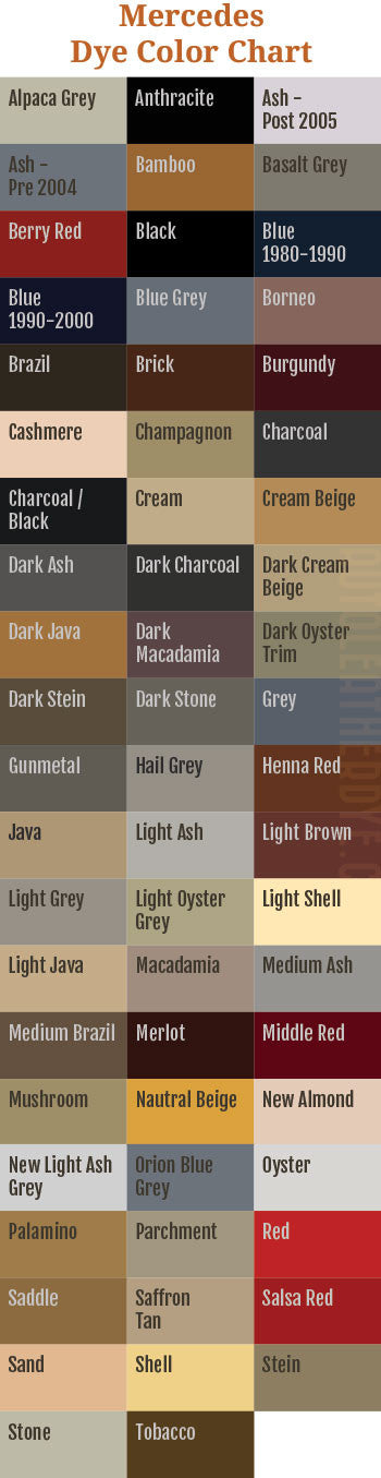 Mercedes Leather Dye And Color Chart Auto Leather Dye
