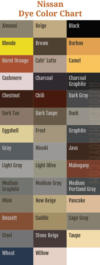 Nissan Leather Dye Color Chart
