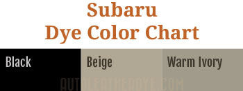 Subaru Leather Dye Color Chart