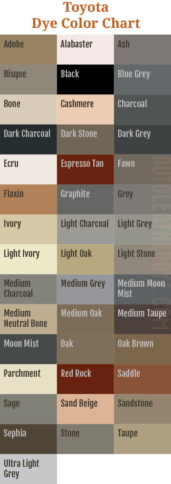 Toyota Leather Dye Color Chart