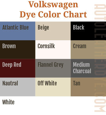 Volkswagen Leather Dye Color Chart