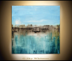 Original Diepte Kleur style blue painting textured high gloss finish abstract contemporary art by sky whitman
