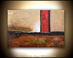 Abstract painting brown cream art original painting sky whitman