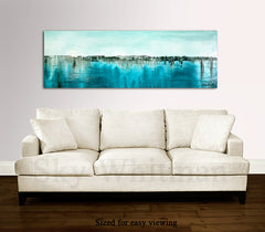 Textured high gloss diepte kleur panoramic abstract art blue contemporary painting