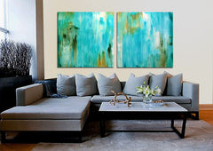 Custom painting blue dripping art abstract art