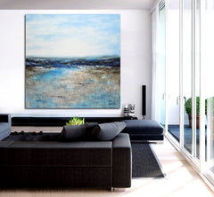 Lusting for blue contemporary landscape painting abstract seascape ocean art modern wall decor by sky whitman