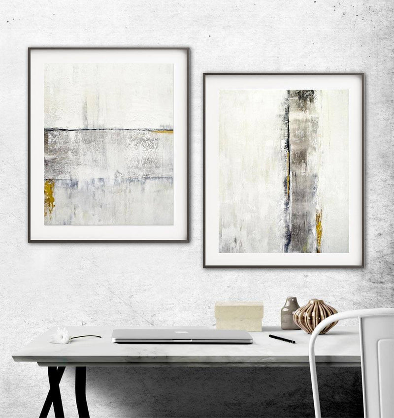 white gold prints art abstract painting 2 piece light print modern wall decor design Sky Whitman