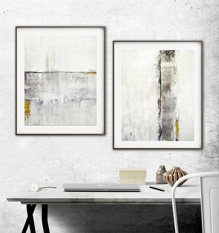 """Shadows & Light"" & ""Winter Nights""  White Gold Print Abstract Art Digital Download Set Of Two 11x14 & 16x20 Art Prints"