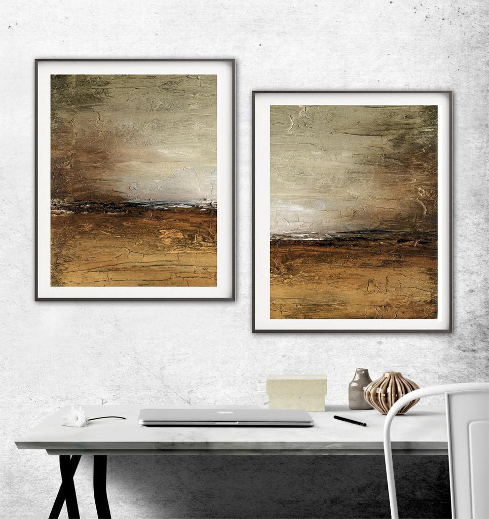 Large abstract landscape prints digital download horizon sienna artwork Sky Whitman