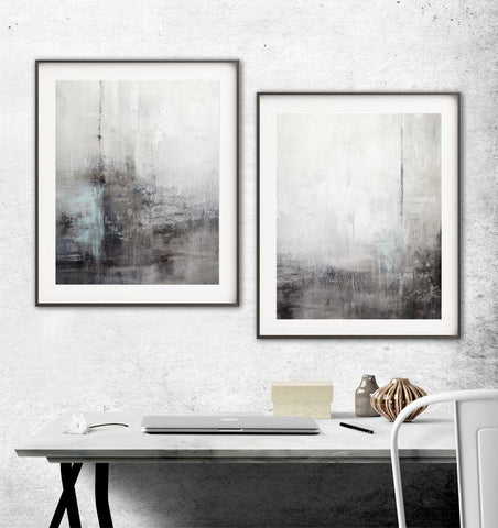 """The Drifter"" Digital Download Set Of Two 11x14 & 16x20 Gray Black Pale Blue Deep Smoke & White Abstract Prints"