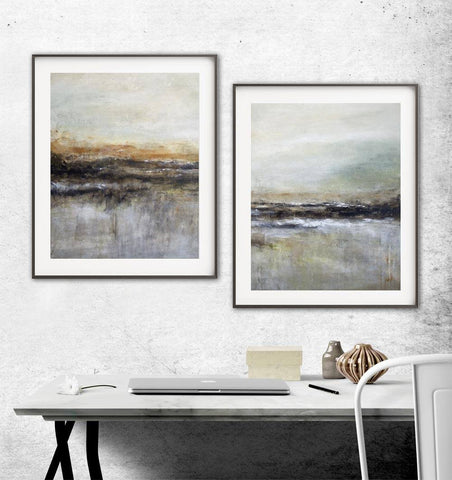 """Wanderlust"" Modern Art Print Diptych Set Of Two Abstract Landscape Print Earth tones"