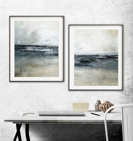 """Stranded"" Digital Download Set Of Two 11x14 & 16x20 Gray Black Abstract Prints"