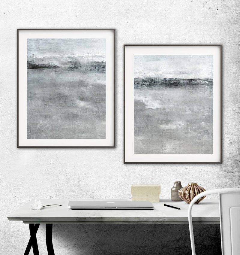 Landscape print horizon gray earth tones digital download printable art abstract diptych Sky Whitman