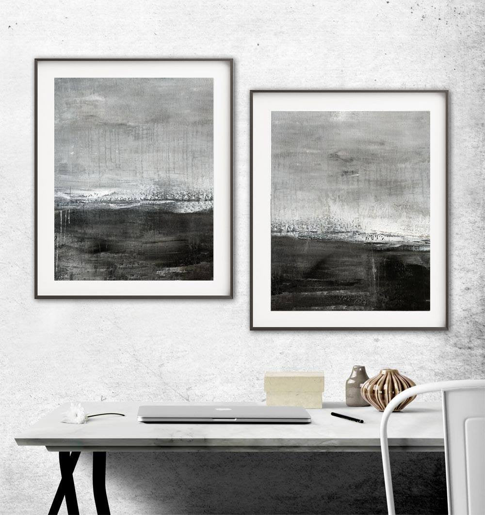 Crave Digital Download Print Set Of Two Gray Black White Abstract