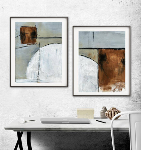 """Urban Eclipse"" Abstract Art Print Set Of Two Digital Art Prints Diptych Rust Taupe Contemporary Modern Painting"