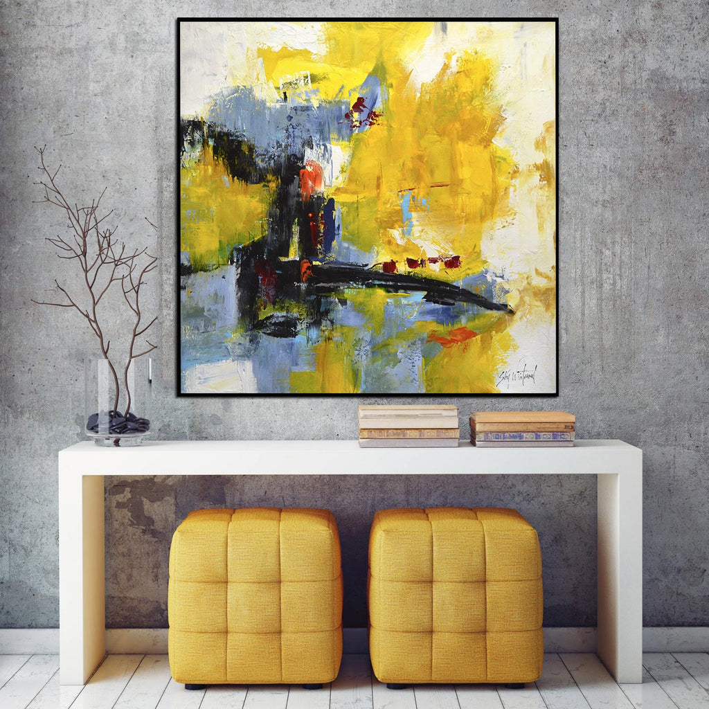 yellow abstract wall art