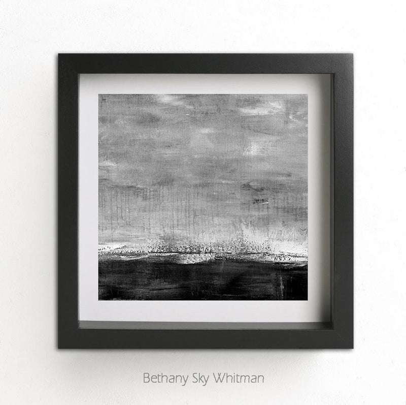 square black and white print abstract landscape