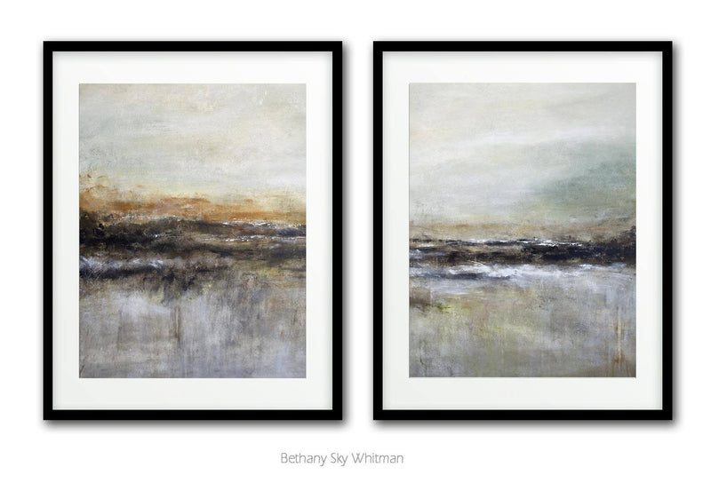 Set of 2 abstract prints printable download art landscape modern wall art Sky Whitman