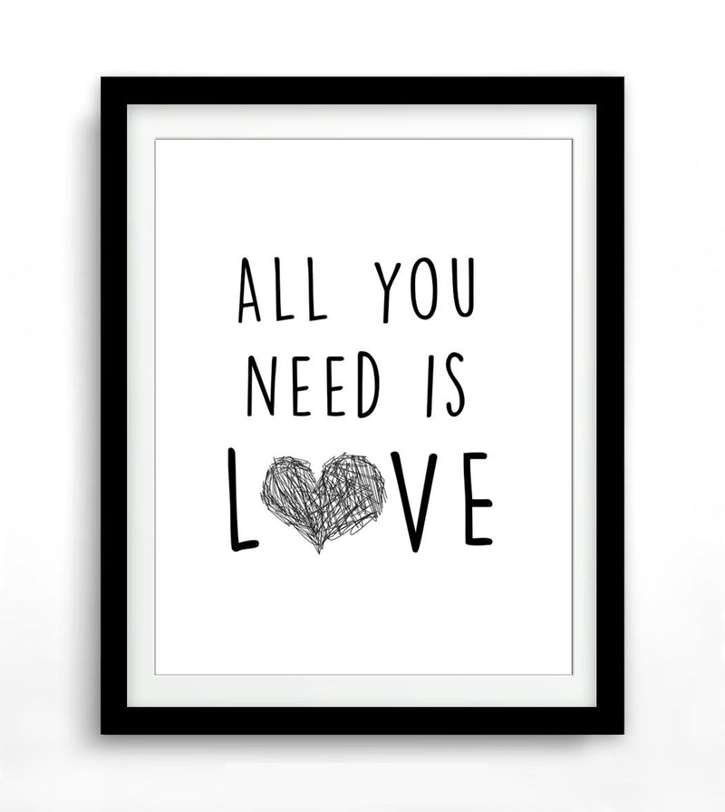 Wall art digital print printable download poster art all you need is love Beatles Sky Whitman