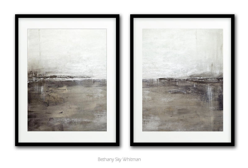 Abstract prints set of two diptych interior design landscape gray brown Sky Whitman