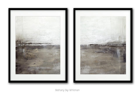"""The Pathway""  Digital Download Set Of Two 11x14 & 16x20 Gray Black Clay Abstract Prints"