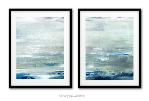""" 20x30 Large Digital Print Set Of Two Sage Blue XXL Diptych Abstract Art Prints Seascape Ocean Modern Contemporary Art Wall Decor Interior Design Sky Whitman Painting ""After The Rain"""
