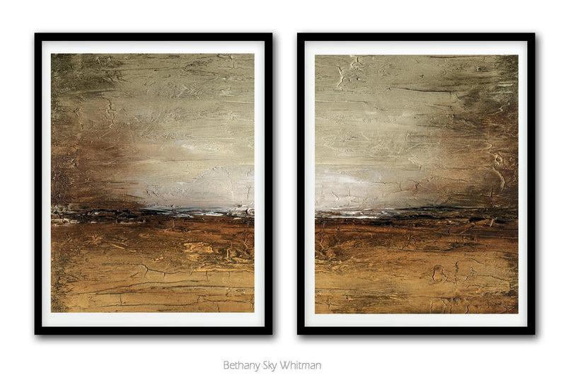 Set of 2 digital prints home decor abstract large art landscape rustic Sky Whitman