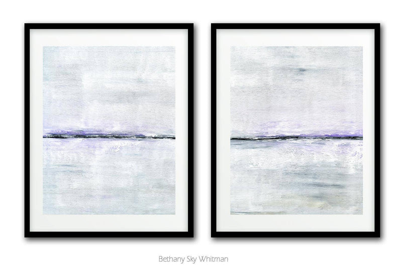 Contemporary abstract print duo modern downloadable printable art white lavender Sky Whitman