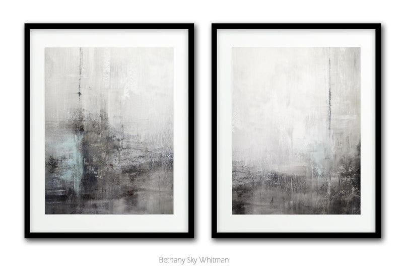 Set of two contemporary prints large modern prints wall art design Sky Whitman
