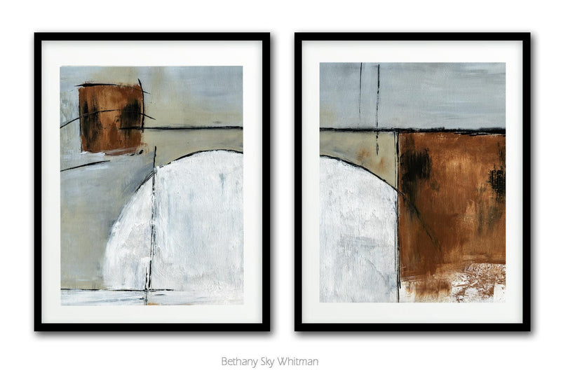 Diptych white brown download digital print instant set of 2 abstract art Sky Whitman
