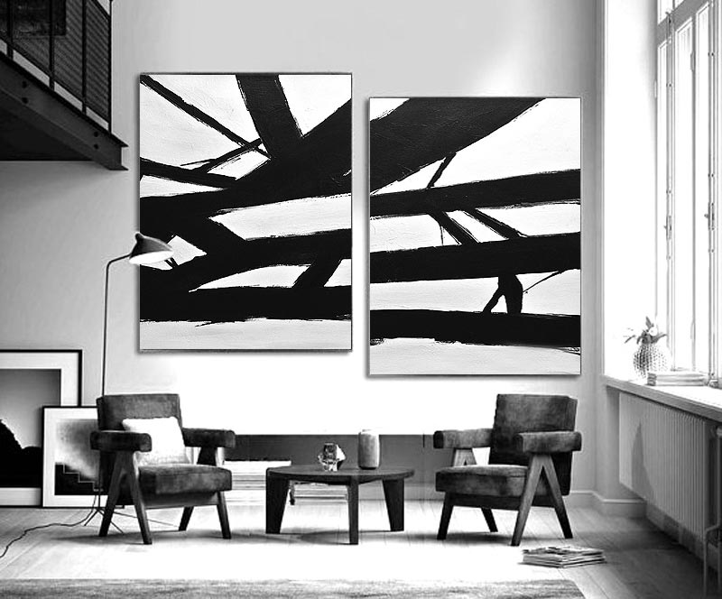 Large set of 2 paintings black and white abstract contemporary art Whitman