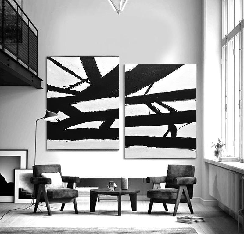 black and white abstract painting Kline inspired